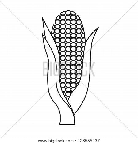 Line icon corn with leaves. Vector illustration.