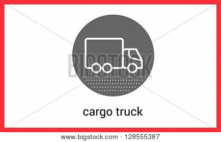 Delivery transport contour outline vector icon. Cargo truck linear pictogram