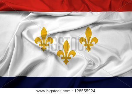 Waving Flag of New Orleans Louisiana, with beautiful satin background.