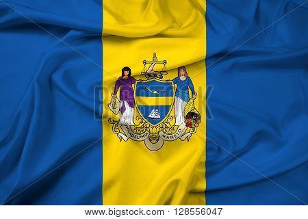 Waving Flag of Philadelphia Pennsylvania, with beautiful satin background.