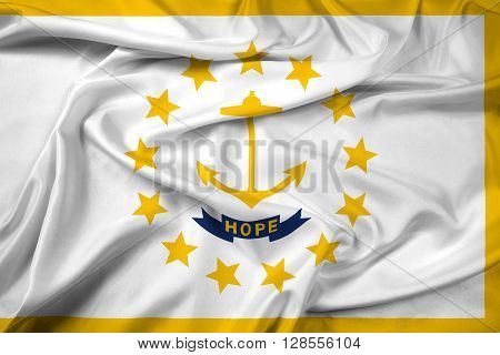 Waving Flag of Rhode Island, with beautiful satin background.