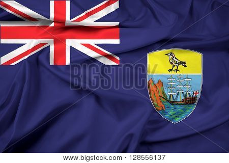 Waving Flag of Saint Helena, with beautiful satin background.