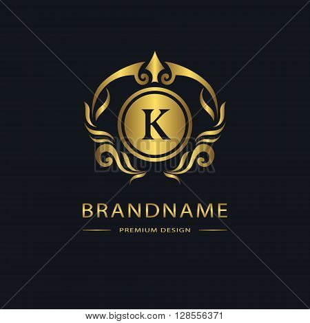 Vector illustration of Luxury Vintage logo. Business sign label. Gold Letter emblem K for badge crest Restaurant Royalty Boutique brand Hotel Heraldic Jewelery Fashion Real estate Resort tattoo Auctions