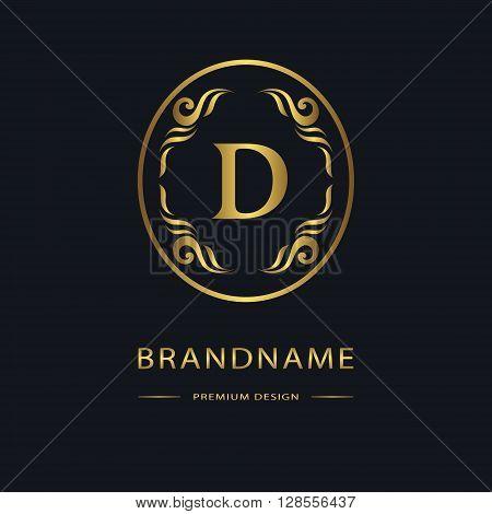 Vector illustration of Luxury Vintage logo. Business sign label Letter emblem D for badge crest Restaurant Royalty Boutique brand Hotel Heraldic Jewelery Fashion Real estate Resort tattoo Auctions