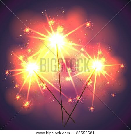 Bright shiny sparklers on holiday. Vector illustration.