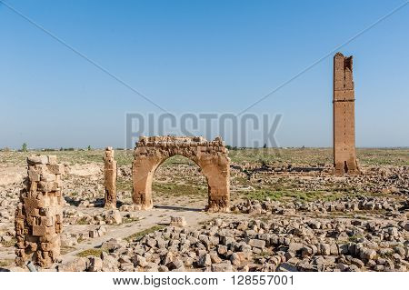 Ruins of the Great Mosque Ulu Camii in Harran Turkey 8th century