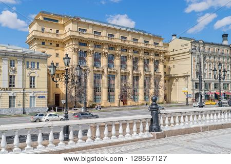 Moscow Russia - April 24 2016: Mokhovaya Street. Name of street literally Moss Street emerged in the 18th century after the Moss Market that stood on site of Moscow Manege and traded in moss for caulking log houses.