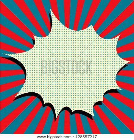 Comic style vector background. Pop art style explosion. Superhero action. Comic art style phrase background. Design element in vector.