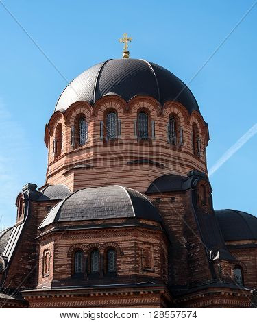 Narva Estonia - Resurrection Cathedral. Built in 1873. Made in the Byzantine style. Dome closeup.