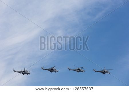Mi-24 Attack Helicopters Fly On Military Parade Devoted To 70Th Anniversary Of Victory Day In Wwii