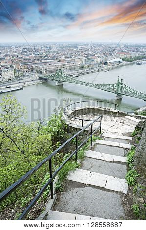 View Of Budapest And The Danube River From Gellert Hill