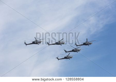 Mi-28N (havoc) Attack Helicopters Of Aerobatic Team Berkuty Fly On Military Parade Devoted To 70Th A