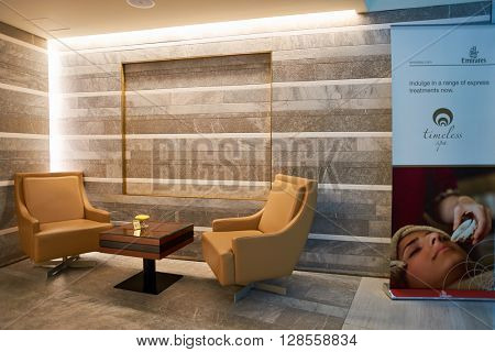 DUBAI, UAE - APRIL 09, 2016: inside of Emirates Business Lounge. Emirates is an airline based in Dubai, United Arab Emirates. It is the largest airline in the Middle East