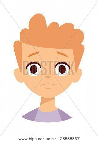 Sadness boy vector illustration.