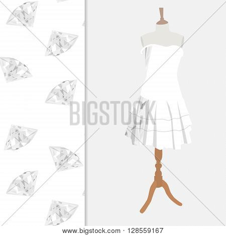 Vector illustration elegant cocktail evening woman dresses on mannequin for boutique. With diamond brilliant seamless pattern