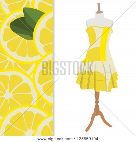 Vector illustration beautiful cute woman dress on mannequin for boutique. And seamless pattern with lemon slices