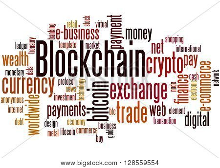 Blockchain, Word Cloud Concept 8