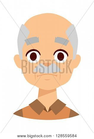 Sadness grandpa face vector illustration.