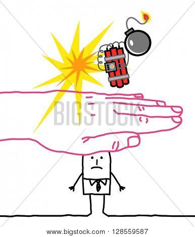 big hand and cartoon characters - terrorism and protection