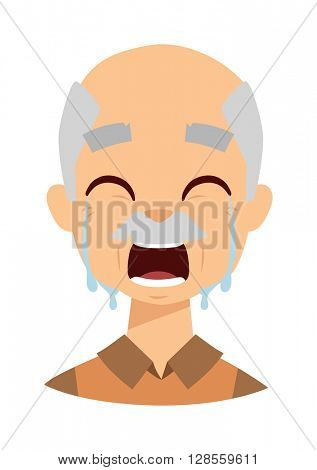 Crying grandpa vector illustration.