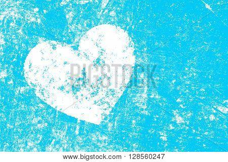 Grunge White Heart On Blue Background
