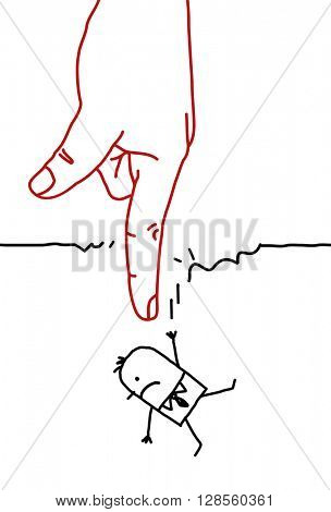 big hand with cartoon character - falling
