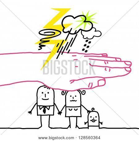 big hand and cartoon characters - disaster