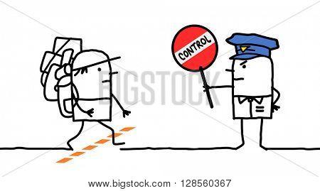cartoon characters - police control - borderland