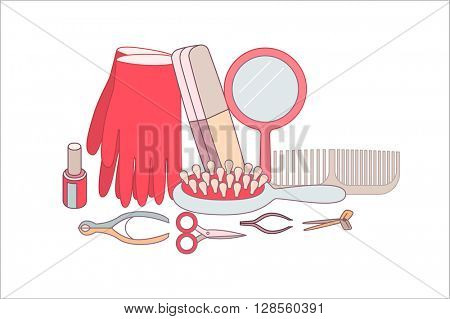 The set of hygiene grouped elements on white background, flat cartoon vector illustration