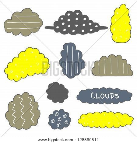 Cute hand drawn doodle clouds set. Clouds icons