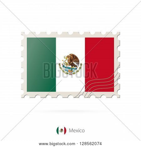 Postage Stamp With The Image Of Mexico Flag.