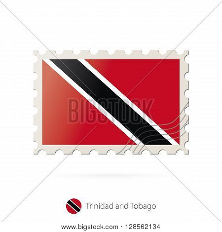Postage Stamp With The Image Of Trinidad And Tobago Flag.