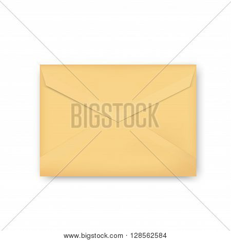 Vector illustration brown golden envelope isolated on white background. Realistic mockup envelope template design.