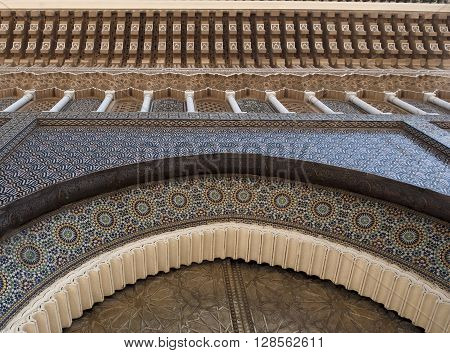 Fragment of Arabesque Architecture, Front door - Hassan Mosque, Casablanca, Morocco