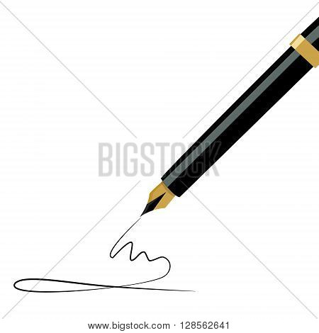 Vector illustration golden fountain pen writing. Ink pen