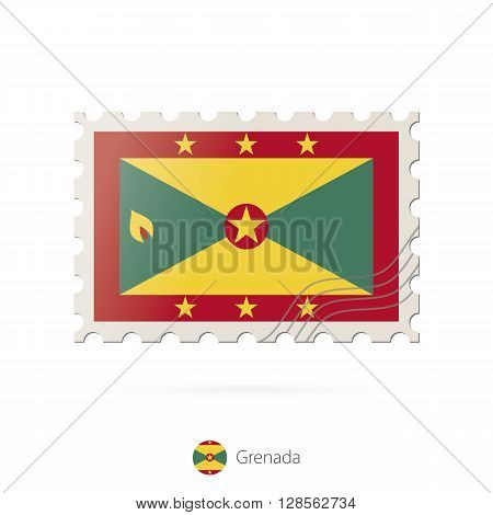 Postage Stamp With The Image Of Grenada Flag.