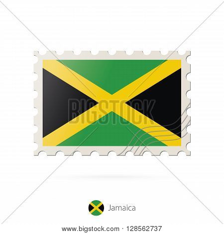 Postage Stamp With The Image Of Jamaica Flag.