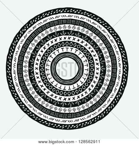 Vector tribal aztec round element. Ethnic tribal borders. Tribal ornament isolated. Boho folk navajo frame. Tribal design. Geometric tribal background