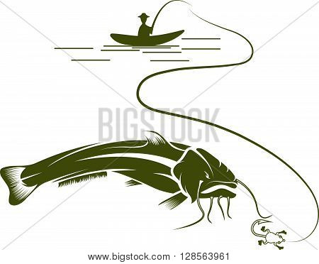 Fisherman On Boat And Catfish Vector Design Template