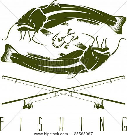 Vintage Fishing Vector Design Template With Catfish