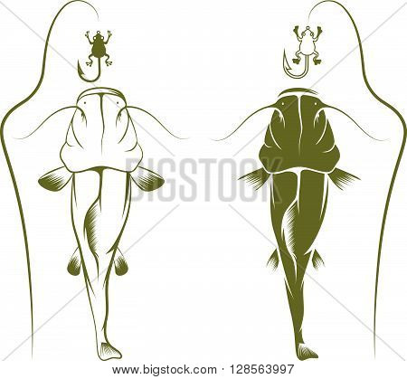 Hook With Frog And Catfish Vector Design Template