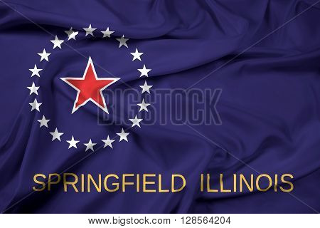 Waving Flag of Springfield Illinois, with beautiful satin background.