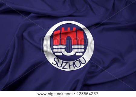 Waving Flag of Suzhou China, with beautiful satin background.