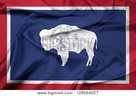 Waving Flag of Wyoming State, with beautiful satin background.