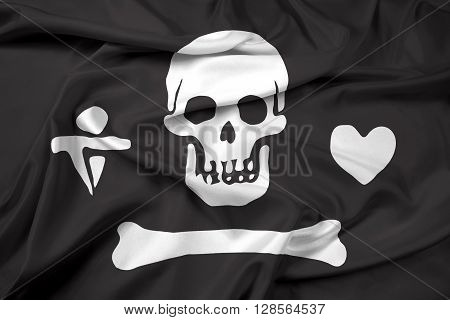Waving Stede Bonnet Pirate Flag, with beautiful satin background.