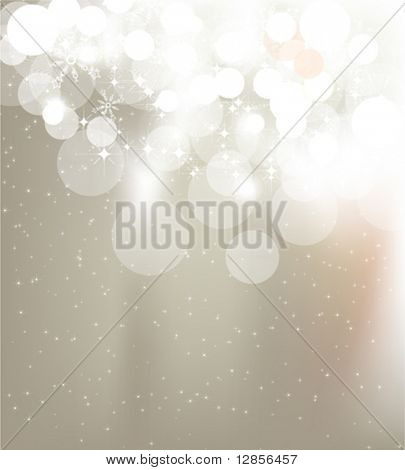 Vector - snowflakes and stars, golden blur light