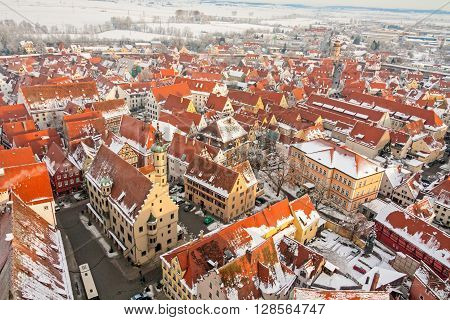 Panoramic top view on winter medieval town within fortified wall. Nordlingen, Bavaria, Germany.