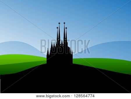 Catholic church. A silhouette of a Catholic church, against the Blue and Green Mountains