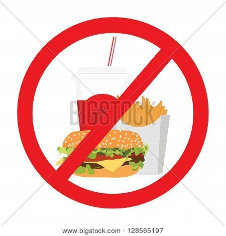 Vector illustration fast food danger label. No food allowed symbol isolated on white background. Prohibition sign.