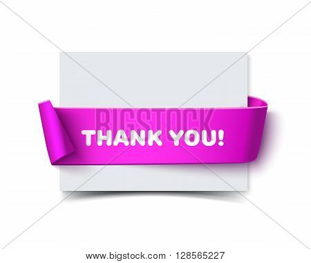 Paper horizontal greeting card with curved lilac gift ribbon and text Thank You isolated on white. Realistic vector illustration of white paper note card with ribbon with space. Cardboard card with paper ribbon